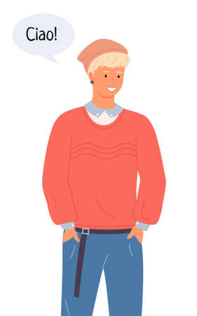 Portrait of an european man. Smiling italian guy in jeans and a cap talking Hello in chat bubble. Friendly male character shows joy when meeting and says Ciao. Hello in different languages concept