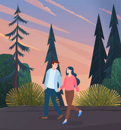 Young woman and man in love, holding each other s hand, walking together outdoor along the forest road in the evening. Date of a loving happy couple. Romantic pastime, family weekend concept