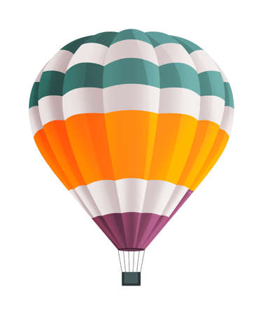 Hot air balloon isolated on white background vector illustration. Aircraft hot air ballon used to fly gas. Consists of gas burner, a shell and a basket for carrying passengers. Romantic flight travel