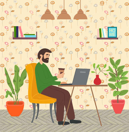 Bearded man with coffee sitting at table in room and correspondence surfing the Internet. Male character communicating through network on the laptop. Freelance, work from home and home office concept