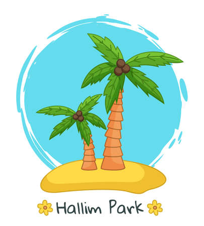 Banner with image one of the main attraction of the south korean island Jeju and the inscription Hallim park. Palm trees with coconut on the beautiful tropical island against the sea summer postcard