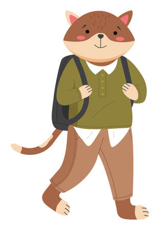 Funny cartoon animal student isolated on white background. A cat schoolboy wearing in school uniform. Smart active pupil with a school bag on his shoulders. Back to school, education theme