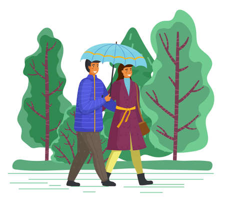 Couple goes in rain. Happy man and woman are walking in city park under an umbrella, go on the background of green trees. Beautiful married people have romantic relationship, cartoon flat characters