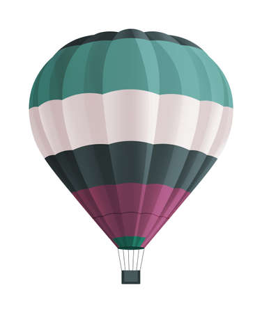 Balloon for flights. Hot aircraft isolated on white background. Flying in the clouds on a color airship. Beautiful airy flying hot air machine. Green, White and purple stripes aerostat. Flat image