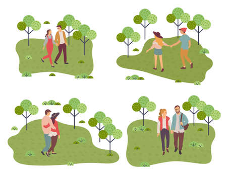 Collection of illustrations. Happy in love couple walking in park. People walking at nature hugging each other, holding hands. Young girls and guys spend leisure time together, outdoors activity Иллюстрация