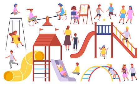Children s activities. Kids playing at playground, with ball, jumping rope, walking holding hands, carousel, up-and-down, slide, swing, drawing picture, mother and kid. Set of cartoon illustrations Иллюстрация