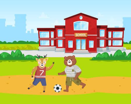 Animals students bear and deer play football on the playground in front of the school building cartoon theme. Pupils in physical education class running kicking the ball outdoor on a sportsground