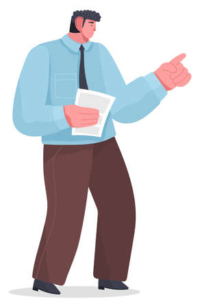 artoon male serious character standing with paper or document, points or punishes with his hand. Waving finger in disapproval. Do not cope the work. Chaos in office. Boss scolds subordinate Stock Illustratie