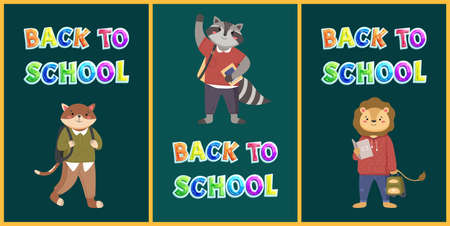 Back to school concept, colorful vector banner with bright lettering and animals students characters welcoming pupils on dark green school board. Kids bright illustration with education equipment