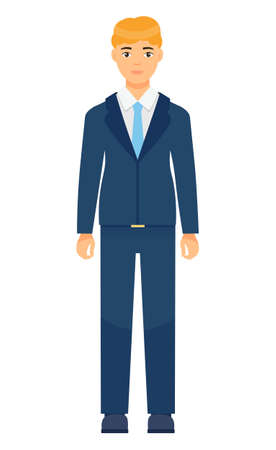 Isolated cartoon character businessman wearing stylish blue suit and tie. Man in jacket and trousers, white shirt. Business person style. Dresscode of office worker. Blond-haired guy, cloth element