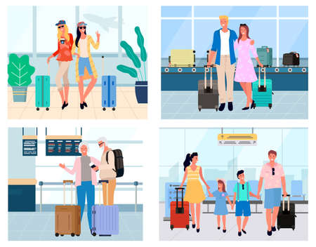 Man and woman standing in arrival or waiting hall, travelers with baggage in airport. Smiling tourists friends, older people, couple and family vector