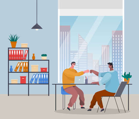 Successful teamwork. Office workers celebrating successful work, project. People high five with each other. Good job concept. Black and white guys sitting in office near panoramic window at table Иллюстрация
