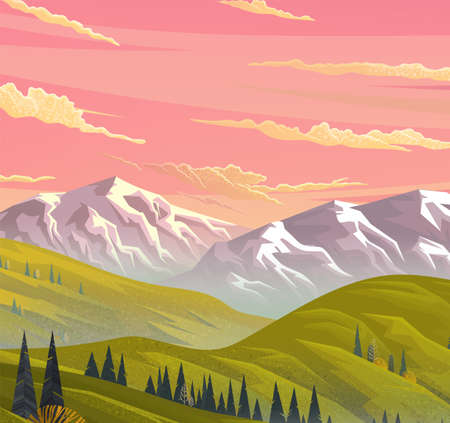 Picturesque sunrise or sunset in the mountains. Wild nature. Meadows, forests, conifers trees. Mountain, rocks, orange sky and clouds. Green hilly terrain. Mountain landscape. Flat vector illustration