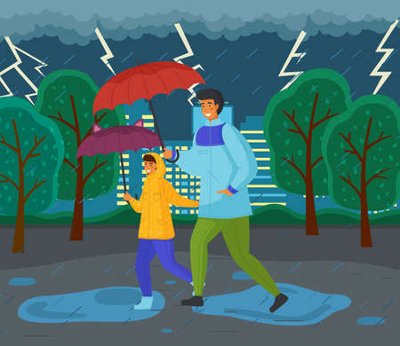 Family walking in the rain with umbrellas and wearing raincoats in the city park. Father and daughter together on a rainy autumn day running through the puddles, thunder and lightning in the sky Иллюстрация