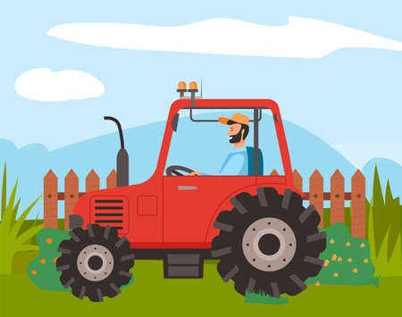 Bearded farmer in cap rides red tractor on lawn. Rustic wooden fence, flowering bushes, mountains and sky on background. Use tractor to plow the soil. Grow and harvest. Agriculture, truck farming 向量圖像