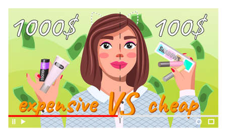 Young beautiful girl recording video about expensive and cheep cosmetics. Videoblogger. Fashion beauty blogger. Online channel concept, girl video streamer. Woman short haired talks about cosmetics Illustration