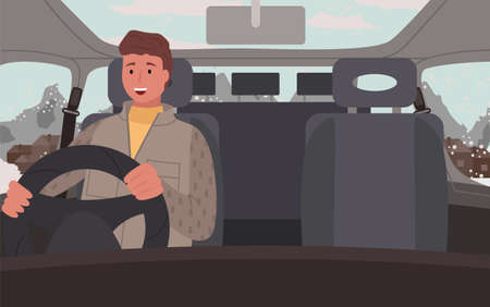 Traveling of man sitting in car near snowy mountains in countryside. Happy person wearing jacket driving auto in winter season. Road trip of alone human in casual clothes going in village vector Ilustração