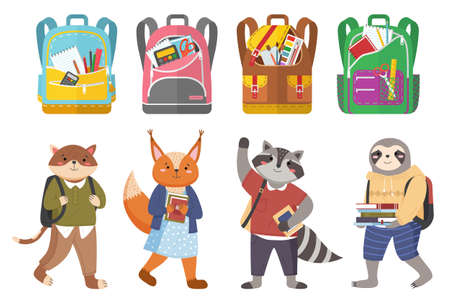 Cute animals students and bags collection, colorful vector banner with schoolchildren characters and bright schoolbags set with school supplies on white. Kids backpacks with education equipment Иллюстрация