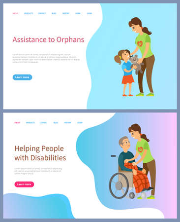 Volunteering online, help people with disabilities, assistance to orphans, caring to kid, elderly man, girl with toy, senior on wheelchair vector. Website or slider app, landing page flat style Иллюстрация