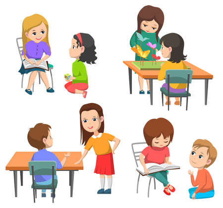 Pupils vector, kids talking and working in pairs. Boy and girl on break, schoolboy sitting by table, schoolgirl reading book, making project, back to school concept. Flat cartoon Ilustração