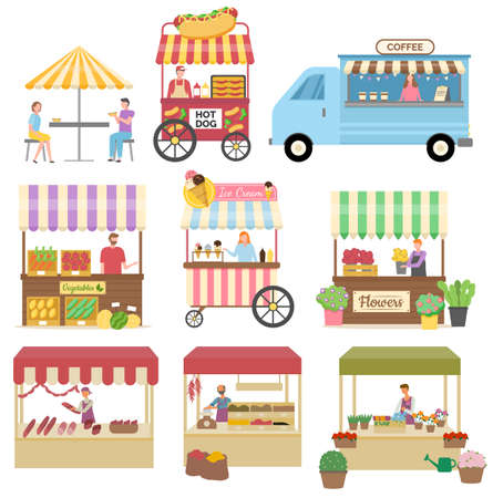 Spice stall vector, isolated set of markets and shops. Ice cream and coffee truck with seller, butchery and flowers selling, vegetable and bread shop Иллюстрация