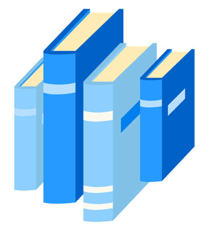 Stack of books. Literature for home or public library for reading interesting stories, novels and romances. Textbooks have hard cover and different shades of blue color. Vector illustration flat style
