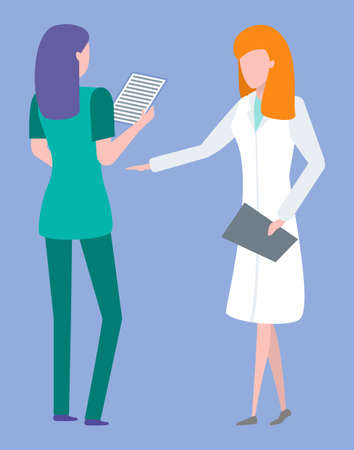 Doctor and nurse discussing medical history of patient, ct or mri. Woman holding report, researching diagnosis, treatment and healthcare, clinic vector