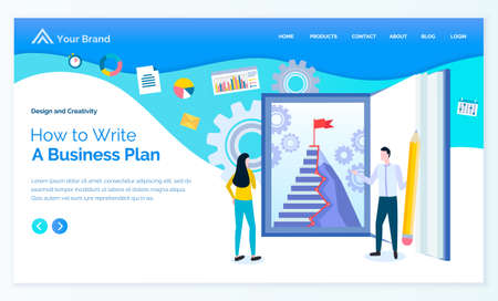 How to write business plan, company system of making strategies. Man and woman looking at staircase with finish flag. Gears and icons set. Website or webpage template, landing page, vector in flat