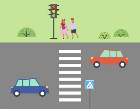 City street and road, children get ready to cross the road, outdoor flat vector illustration. Roadway with cars, kids stand near a traffic light at a pedestrian crossing. Child safety on the road