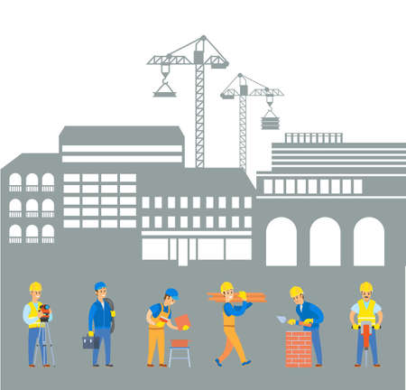 Teamwork renovation, men builders working with tile, brick and electric jackhammer, worker going with logs, building crane, construction zone vector