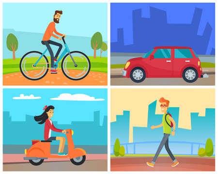 Means of transport vector, man riding bicycle in park in weekend, female character on scooter at street. Car automobile on road and male walking in city wearing rucksack. Urban cityscapes and skylines 向量圖像