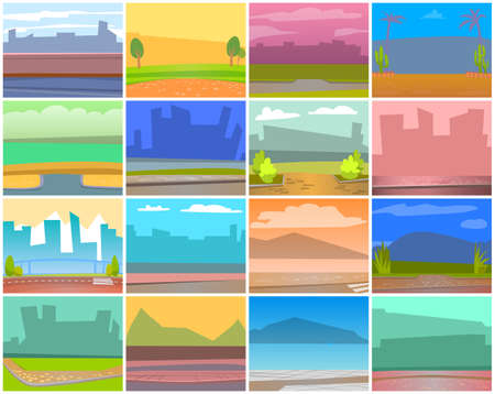 Cards with natural landscape backgrounds, urban city buildings silhouettes. Shadow of skyscrapers, asphalt sidewalk, green nature in town. Vector place for cafe or restaurant, empty space for design