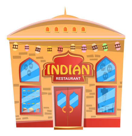Restaurant that serves traditional indian cuisine. Isolated house, facade exterior design. Cafeteria in India with asian food. Logotype of cafe on front of building. Vector illustration in flat style