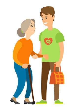Portrait view of assistance helping lady, man holding old woman, grandmother going with stick, person with handbag, volunteer caring, caution vector
