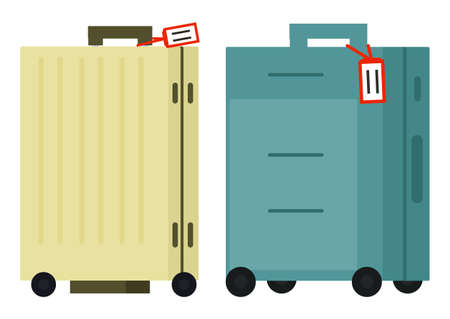 Suitcase on wheels, isolated object vector. Baggage or luggage, summer vacations abroad, journey or trip, leather bag with handle, pockets on zipper. Journey package, business travel bag. Flat cartoon Иллюстрация