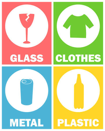 Sorting garbage signs vector, glass and clothes, metal and plastic. Bottle and t shirts, tic can infographics with circles. Icons for sorting garbage