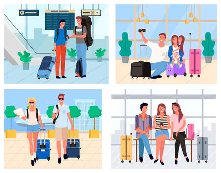 People tourists in airport, man and woman holding baggage and standing in departure lounge. Smiling couple and family traveling, passenger arrival vector Иллюстрация