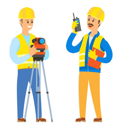 Builder with walkie talkie vector, male wearing helmet and special clothes talking to colleagues, man commanding and giving tasks assignments set Иллюстрация