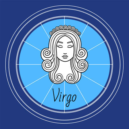 Virgo horoscope and zodiac sign decorative design in circle. Isolated icon of maiden in sketchy manner. Element for virgos or virgoans born in september and august months. Vector in flat style Vektoros illusztráció
