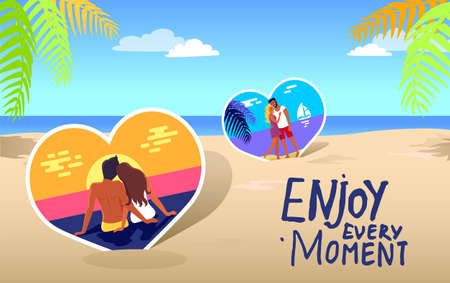Poster with couple on the coast and stylish lettering Enjoy every moment. Summer trip banner. Tropical landscape postcard with palm trees, ocean and sand, couple in love in heart shaped frames