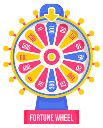 Wheel of fortune with winning numbers and sector bankrupt and bonus, flat style illustration. Game fortune wheel concept. Casino and gambling vector. Icon of casino fortune, wheel winner game