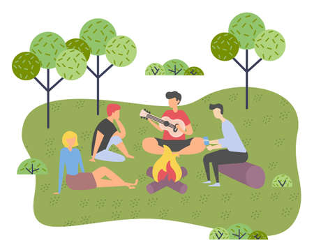 Young company of friends on picnic outside the city. Campfire gatherings, singing songs on the guitar. Trip out of town or city park. Rest and vacation. Singer and listeners. Flat vector illustration Vektorgrafik