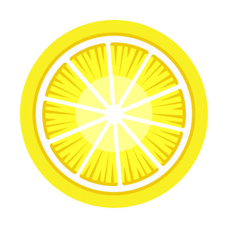Lemon graphic object illustration isolated vector on white background. Citrus fruit nutrition diet icon. Dietary fiber and vitamins and mineral source. Useful products when breastfeeding a child Vettoriali