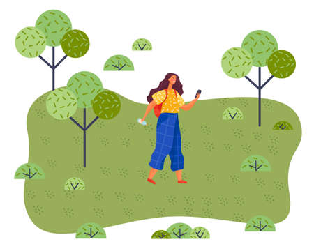 Happy woman is walking in summer park sunny day. Female character with backpack and water bottle is travelling outdoors. Lady is holding mobile phone looking at screen. Girl is making photo on a walk