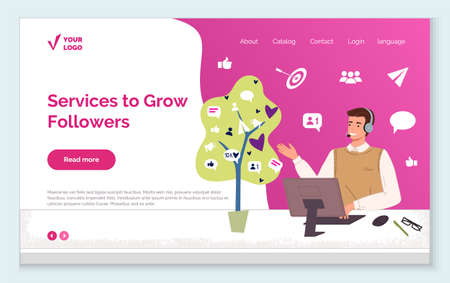 Engaging with followers. Services to grow followers and increase audience vector landing page, web page template. Generating new leads advertising strategy. Attracting followers, subscriber counting