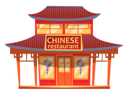 Chinese restaurant cartoon illustration of building facade and lanterns. Chinese restaurant with typical construction roof type, sign with an inscription above the entrance. Asian cuisine institution Vetores
