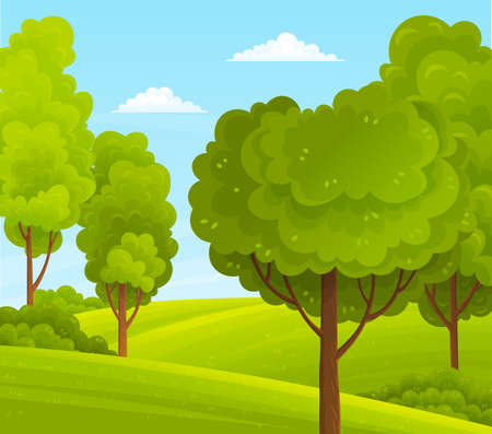 Illustration of big plants with foliage round shape, scenery with green meadow, bushes and blue cloudy sky. Green bright trees with a lush crown, thick brown trunk and branches in a natural landscape