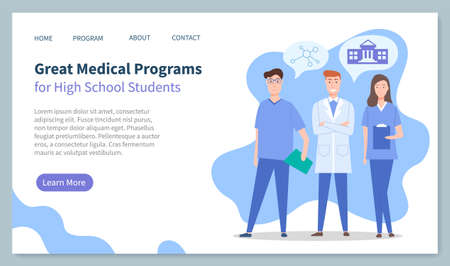 Educational website, landing page, great medical programs for high school students, medical education, doctors, physicians therapists, ion of university, chemistry, medical site, courses, training