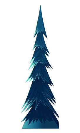 Blue cartoon spruce, fir tree or pine. Flat vector tree image isolated on white. Forever green, coniferous forest, prickly needles. Alaska, taiga vegetation. Cartoon illustration for games, banners