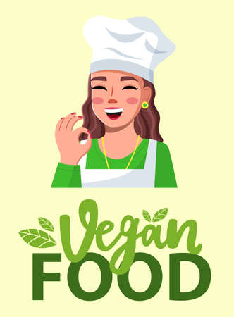 Young beautiful woman in cook hat smiles and shows OK. Vegan food., green lettering. Makeup, red polish, well-groomed young woman. Cooking online, blogging. Blogger, streamer, model. Flat vector image